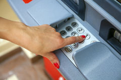 ATM - entering pin Stock Images