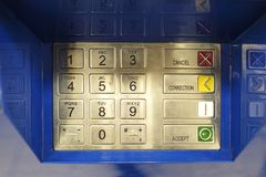 ATM EPP keyboard. Keypad of an ATM cash machine. Pass code on ATM stock photo