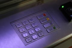 ATM EPP keyboard. ATM keyboard for receiving and issuing money royalty free stock photography