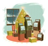 ATM Family Christmas with Presents vector illustration