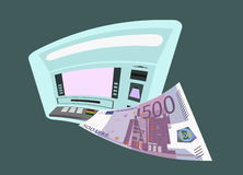 ATM and five hundred euros. From ATM flies five hundred euros Stock Image