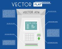 Atm flat infographic. On blue background. Vector illustration Royalty Free Stock Photo