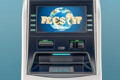 ATM, Geldautomatnahaufnahme Wiedergabe 3d Lizenzfreie Stockfotografie