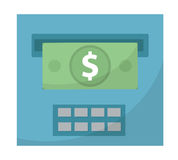 ATM gives out money icon, cashouts flat design, isolated on white background. Vector illustration, clip art Stock Photography