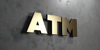 ATM - Goldzeichen angebracht an der glatten Marmorwand - 3D übertrug freie Illustration der Abgabe auf Lager Lizenzfreies Stockbild