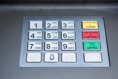 ATM gotówkowej maszyny klawiatura Fotografia Stock