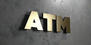 Atm - guld- tecken som monteras på den glansiga marmorväggen - 3D framförde den fria materielillustrationen för royalty Royaltyfri Bild