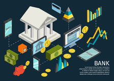 Atm Hands Isometric Poster. With dotted lines that lead from the bank to objects and money vector illustration vector illustration