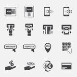 ATM i pieniądze biznesu ikony set Fotografia Stock