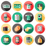 ATM Icon Set. Icon Set with the elements of banking system used for payments with cash ATM terminal checkbook vector illustration Royalty Free Stock Photo