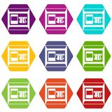 ATM icon set color hexahedron. ATM icon set many color hexahedron isolated on white vector illustration Royalty Free Stock Images