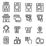 ATM icon set in thin line style Royalty Free Stock Images