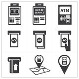Atm icon set Royalty Free Stock Images