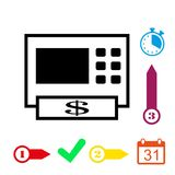 ATM icon stock vector illustration flat design. Icon stock vector illustration flat design style Stock Photo
