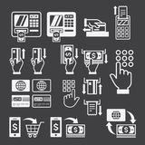 ATM icons. Vector. ATM icons on black background. Vector illustration vector illustration