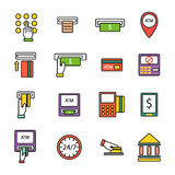 ATM icons vector set. Finance atm and business vector payment card icon set. ATM icons exchange technology payment machine. Finance cash bank card atm icons Stock Photos