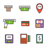 ATM icons vector set. Finance atm and business vector payment card icon set. ATM icons exchange technology payment machine. Finance cash bank card atm icons Stock Photo