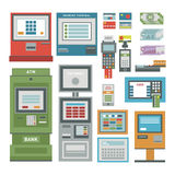 ATM icons vector set Royalty Free Stock Photo