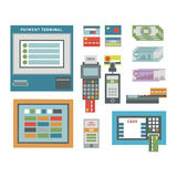 ATM icons vector set. ATM pos-terminal and hand credit card icons. Credit transfer mobile service atm icons money cash credit card. Money credit currency cash royalty free illustration