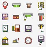 ATM ikon wektorowego setbusiness zapłaty karty ikony finanse gotówki banka karty wymiany technologii zapłaty wektorowa maszyna Obrazy Stock
