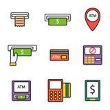 ATM ikon wektoru set Zdjęcie Stock
