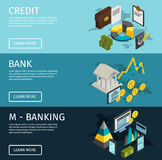 Atm Isometric Banner Set. Three horizontal atm isometric banner set with descriptions of credit m banking and bank vector illustration Stock Photos