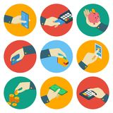 ATM Isometric Colorful Icons With Hand. Payment terminal bill piggy money smartphone card wallet isolated vector illustration Royalty Free Illustration