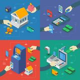 ATM Isometric Compositions With Hands. Bank building payment terminal sales register cash machine isolated vector illustration Stock Photo