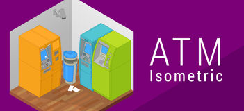ATM isometric flat vector 3d Royalty Free Stock Photography