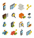 Atm Isometric Icon Set. Atm isometric isolated and colored icon set with money and payment methods vector illustration Stock Image