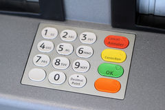 ATM Keypad. A keypad to an automatic teller machine Royalty Free Stock Photo