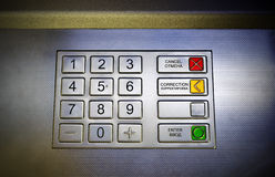 ATM keypad. This photograph represent a metallic keypad of an automated teller machine stock photography