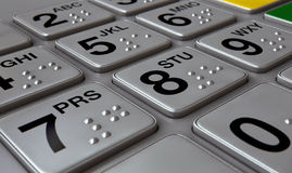 ATM Keypad Closeup. Closeup view of a generic atm keypad buttons with numbers and braille Royalty Free Stock Image