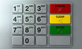 ATM Keypad Closeup. Closeup view of a generic atm keypad buttons with numbers and braille Stock Photos