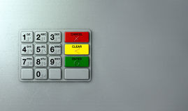 ATM Keypad Closeup. Closeup view of a generic atm keypad buttons with numbers and braille Stock Photography