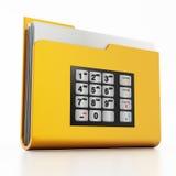ATM keypad on folder icon with documents Royalty Free Stock Photo