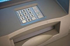 ATM keypad. Gray and blue keypad of an automated teller machine Royalty Free Stock Image