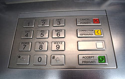 ATM keypad. Keyboard of automated teller machine. Royalty Free Stock Image