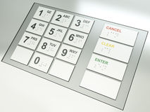 ATM keys. ATM keypad. 3D rendered image Royalty Free Stock Photo