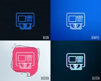ATM line icon. Money withdraw sign. Glitch, Neon effect. ATM line icon. Money withdraw sign. Payment machine symbol. Trendy flat geometric designs. Vector Stock Images