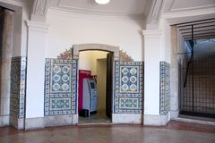 ATM Lisbon - Portuguese tiles Azulejo Royalty Free Stock Images