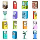 ATM, máquina do café, instrumento da informação e outros tipos de terminais Ícones da coleção do grupo de terminais no estilo dos Imagens de Stock