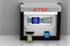 Atm machine. 3d multi use ATM machine in grey background Royalty Free Stock Photography