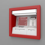 ATM machine. On gray wall Royalty Free Stock Photography