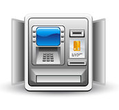 ATM machine. Vector illustration of ATM machine on white background stock illustration