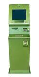 ATM machine. Green ATM / cash machine, isolated on white background Stock Image
