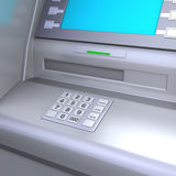 ATM machine. Close up of an ATM machine. Keyboard detail. Clipping path included for easily isolate keys, screen, slot etc Stock Photography