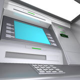 ATM machine. Close up of an ATM machine. Wide angle Royalty Free Stock Photos