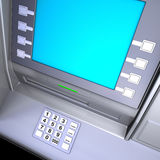 ATM machine. Close up of an ATM machine. Keyboard and screen detail Stock Photo