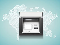 Atm machine. With blank display, trawel concept stock illustration